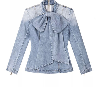 Bow Tie Denim Washed Top