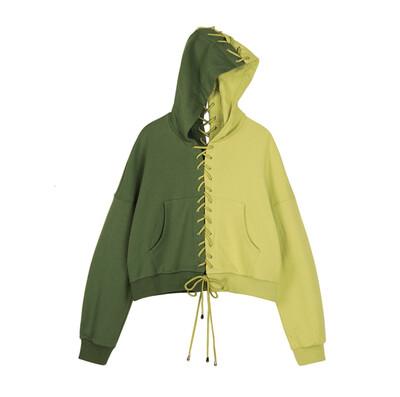 Mixed Green Tie Up Hoodie