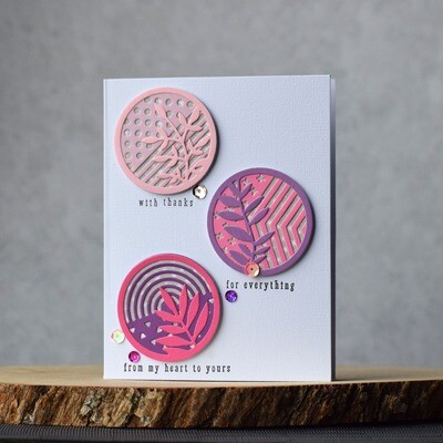 Pink and purple thank you card