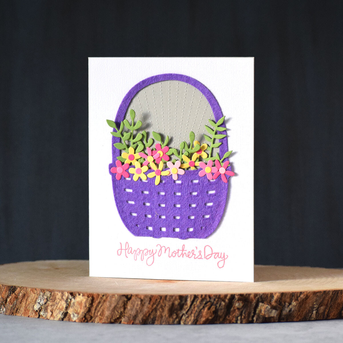 Happy Mother's Day card with a felt basket full of flowers