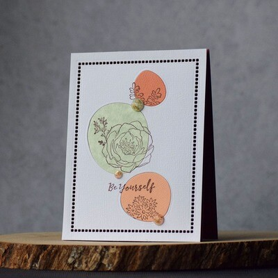 Abstract circles with succulents and a sentiment that says