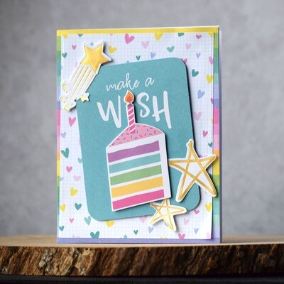 Rainbow cake and candle - colorful Happy Birthday card