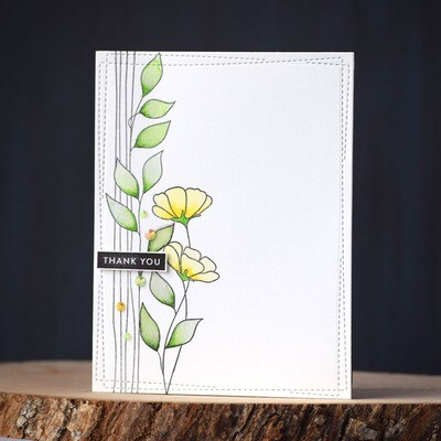 Thank you card with watercolored yellow flowers and leaves