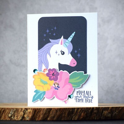 Unicorn and flowers - colorful Happy Birthday card