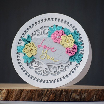 Love you - circular card with foiled flowers