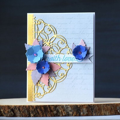 With Love - card with a delicate design and pretty die cut florals