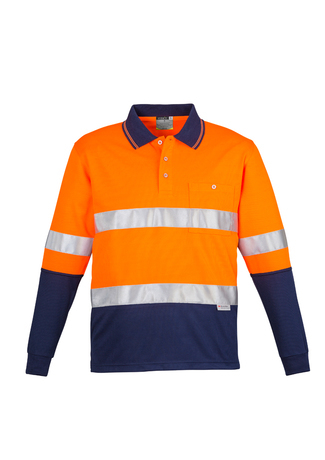 ZH235 Mens Hi Vis Spliced Long Sleeve Polo 9401042255495