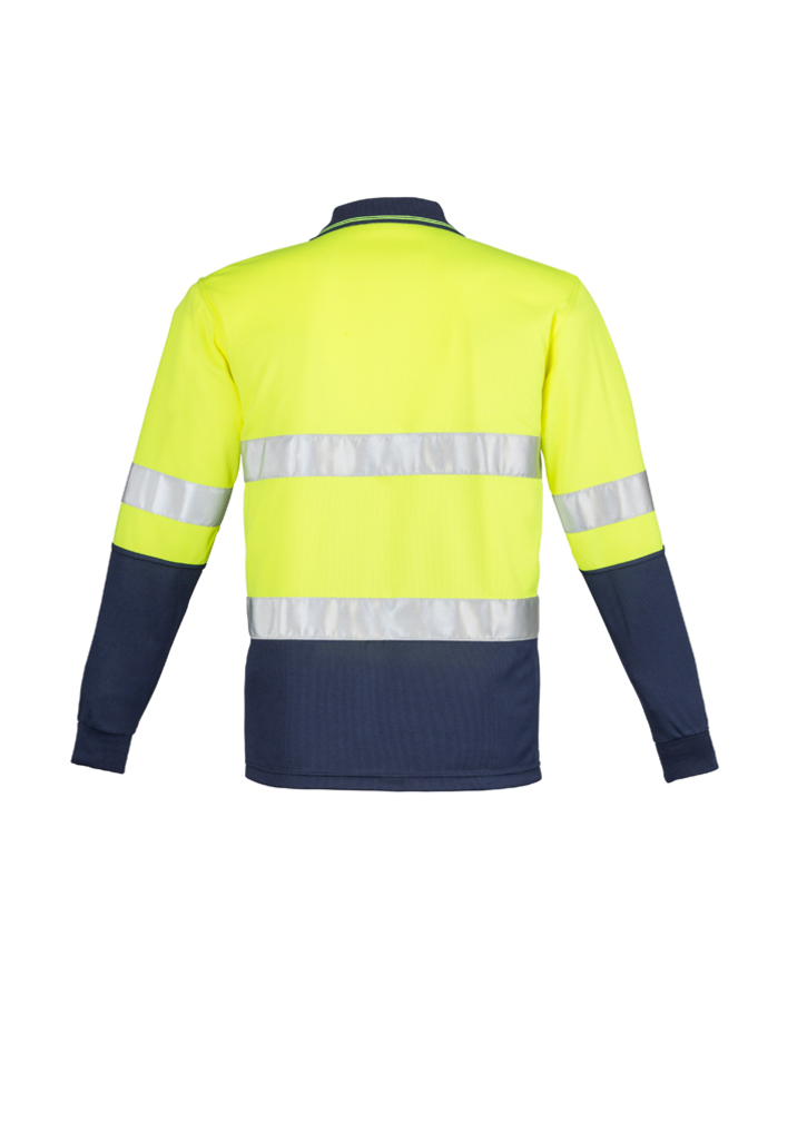 ZH235 Mens Hi Vis Spliced Long Sleeve Polo