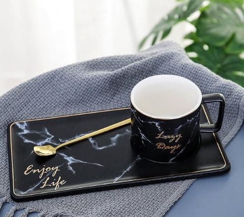 250/500 мл Мрамор зерна Керамика Кофе кружка комплект