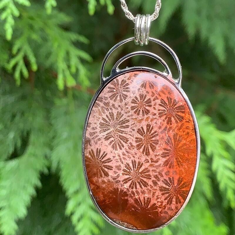 Fossil Sponge Coral Pendant