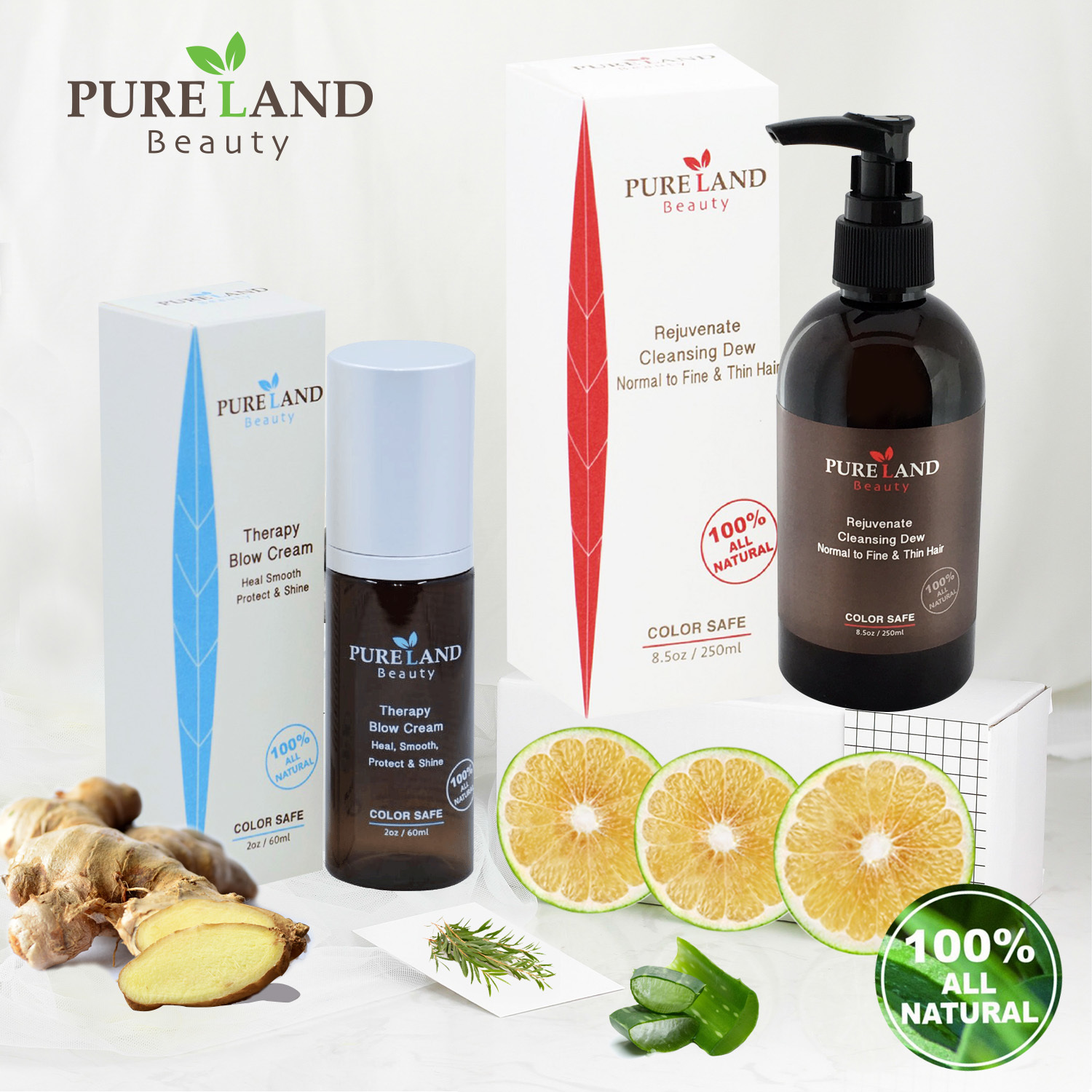 Pureland Beauty Rejuvenate Cleansing Dew and Therapy Blow Cream Set - All Natural Shampoo Can be used for Hair, Face and Body | Leave-In Hair Repair Treatment - Heal, Smooth and Protect 023632961037