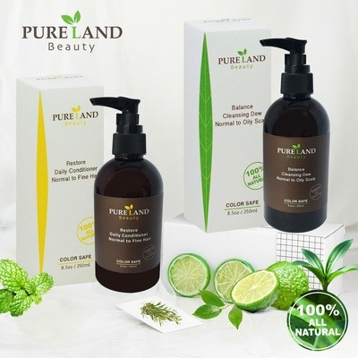 Pureland Beauty  Balance Cleansing Dew and Restore Daily Conditioner Set - All Natural, for Normal to Oily Scalp,reducing unbalanced scalp disorders DEEP CLEANSING