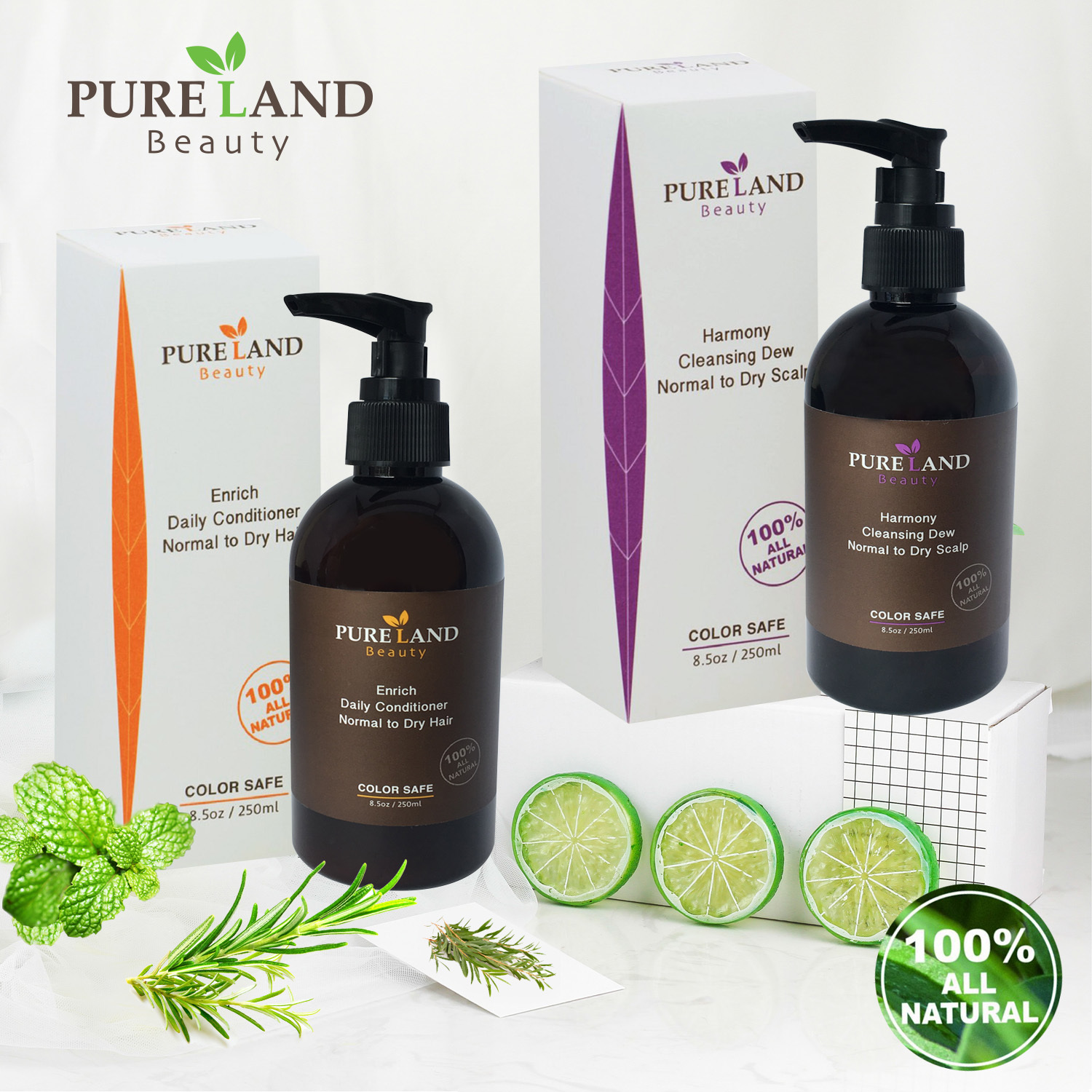 Pureland Beauty  Harmony Cleansing Dew and Enrich Daily Conditioner Set - All Natural, for Normal to Dry Scalp, All Hair Types Women & Men - Safe for Color Treated Hair 00001