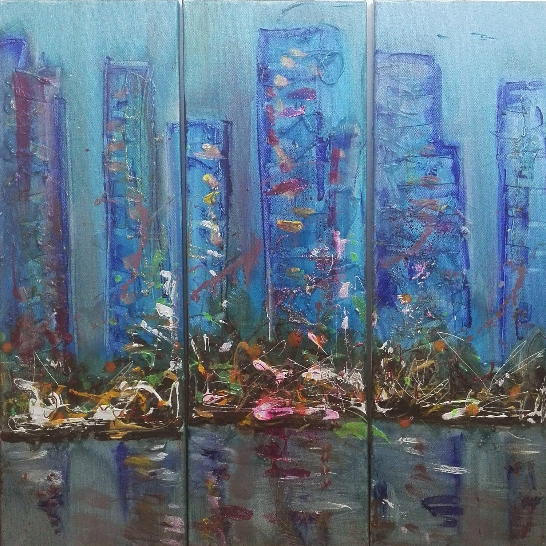"""Set 3 tablouri abstracte """"Oras la apus"""", 60x 60cm, pictat manual de DOBOS"""