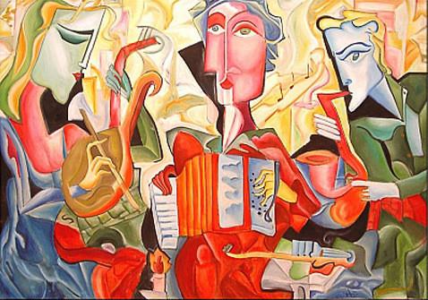 "Tablou modern ulei pe panza""Ritmul Muzicii"", 200 x 140cm, pictat manual de DOBOS"