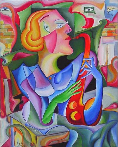 "Tablou modern ulei pe panza""Muza Cantand"", 120 x 90cm, pictat manual de DOBOS"