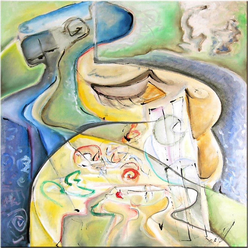 "Tablou abstract modern ""Vis de primavara"", 50x 50cm, pictat manual de DOBOS"