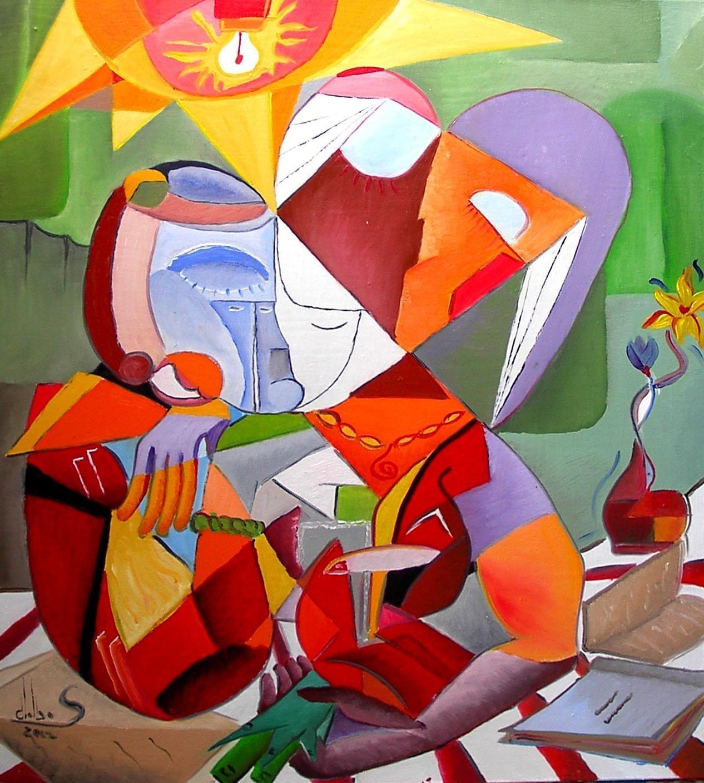 """Tablou modern cubist """"Fete citind"""", 80 x 60cm, pictat manual de DOBOS"""