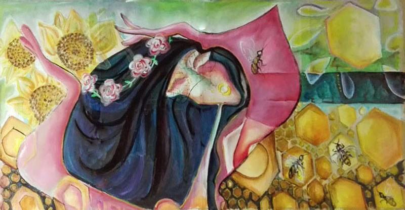 """Tablou modern ulei pe panza """"Regina Albinelor"""" , 120 x 70cm, pictat manual de DOBOS"""