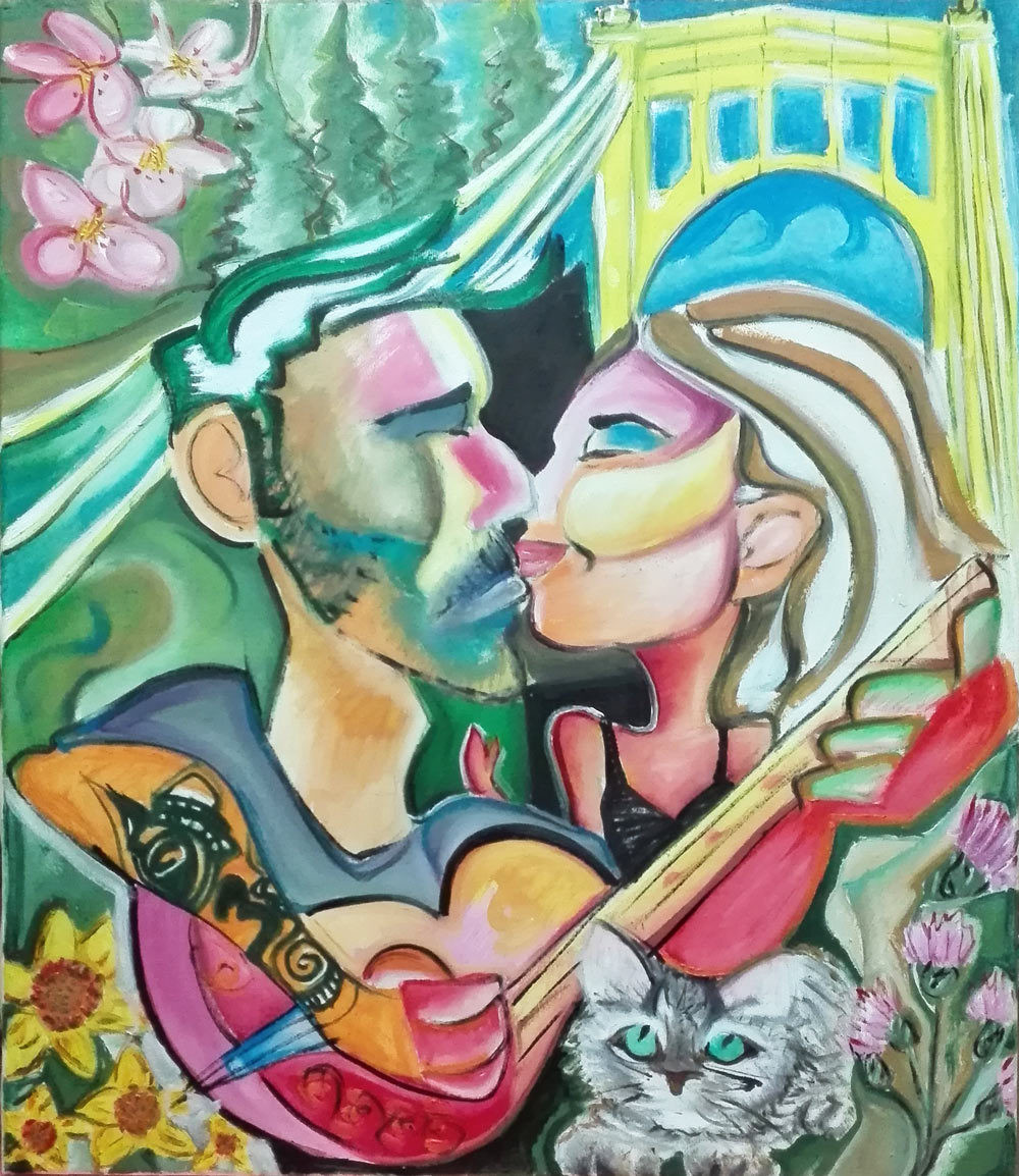 "Tablou modern ulei pe panza ""Iubire in Pittsburgh"" , 120 x 70cm, pictat manual de DOBOS"