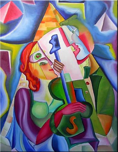 """Tablou modern abstract gata de inramat """"Iluminare"""", 60x80cm, pictat manual de DOBOS"""