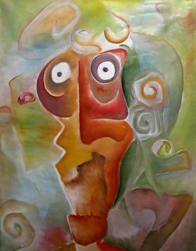 "Tablou modern figurativ ""Pierdut in ganduri"", 120x90cm, pictat manual de DOBOS"