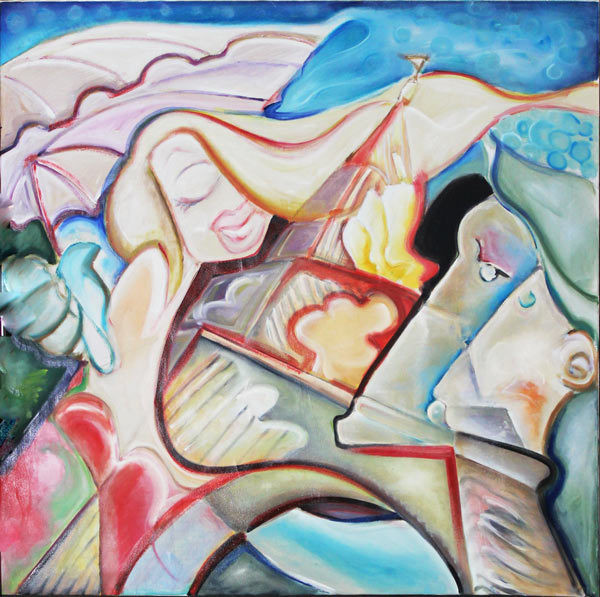 """Tablou contemporan unicat """"Iubire in Paris"""", 120x120cm, pictat manual de DOBOS"""