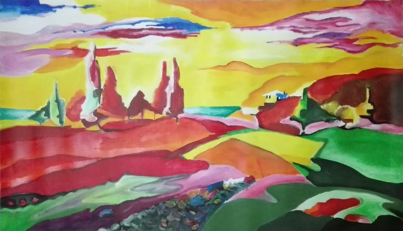 """Tablou peisaj modern abstract """"Roller Coaster"""", 120x70cm, pictat manual de DOBOS"""