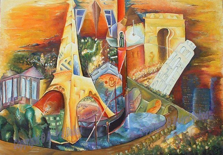 "Tablou peisaj modern abstract ""Europa"", 140x120cm, pictat manual de DOBOS"