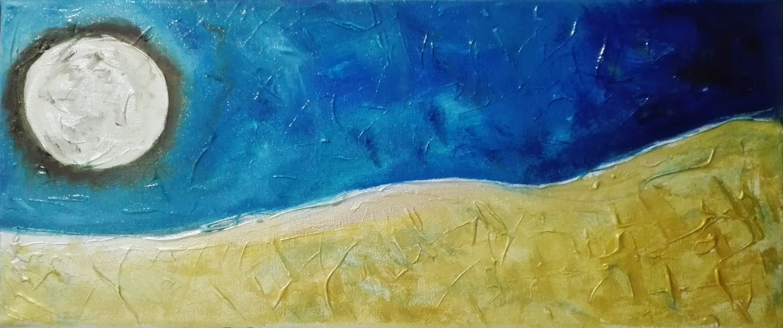 "Tablou abstract gata de inramat ""Luna Plina"", 20x50cm, pictat manual de DOBOS"