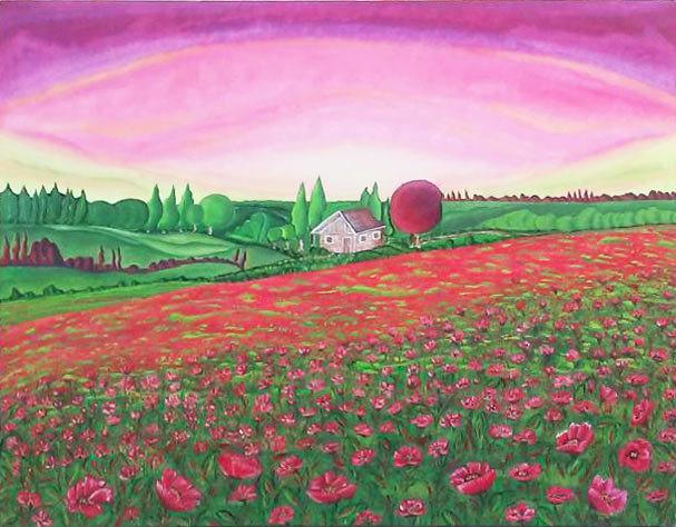 "Tablou peisaj abstract gata de inramat ""Camp de maci"", 80x100cm, pictat manual de DOBOS"