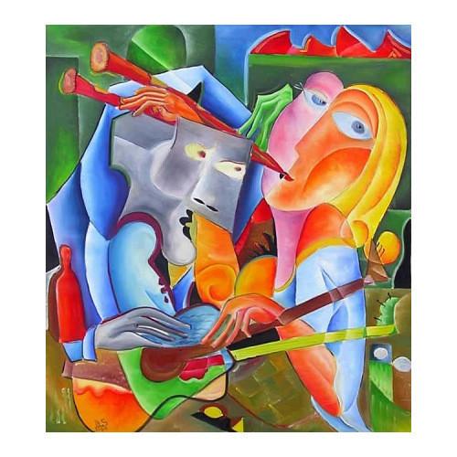 "Tablou modern contemporan ""Joc in doi"",120x120cm, pictat manual de DOBOS"