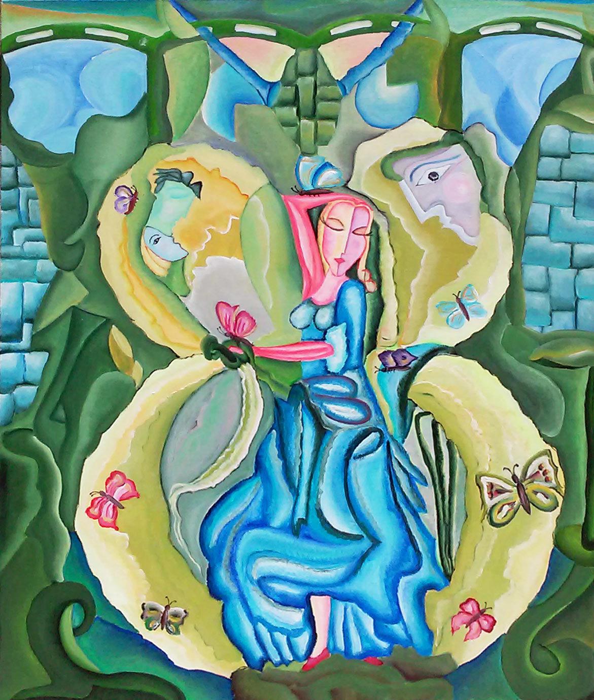 """Tablou modern contemporan, gata de inramat """"Regina FLuturilor"""",100x80cm, pictat manual de DOBOS"""