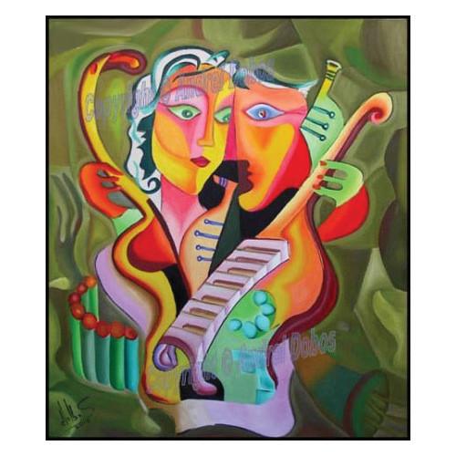 """Tablou modern """"Iubire armonica"""", 80x60cm, pictat manual de DOBOS"""