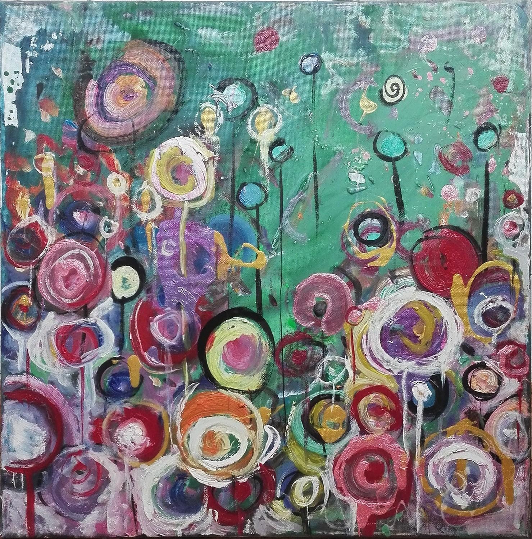 """Tablou floral abstract gata de inramat """"Gradina magica"""" de DOBOS"""