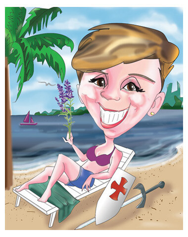 Caricatura digitala color corp intreg fundal personalizat