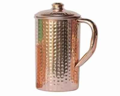 CopperKing Pure Copper Hammered Jug 1250ML, Water Drinking