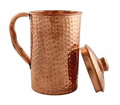 CopperKing Pure Copper Hammered Jug 1Ltr, Water Drinking