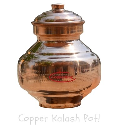 Copperking Pure Copper Kalash Pot 3.5Ltr, Water Drinking in Copper Vessel