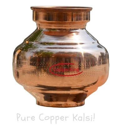 Copperking Pure Copper Kalsi/Pot 3.5Ltr, Water Drinking in Copper Vessel