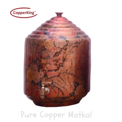 Copperking Pure Copper Printed Matka / Pot 16Ltr, Water Drinking in Copper Vessel