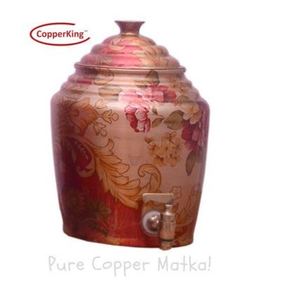 Copperking Pure Copper Printed Matka / Pot 4Ltr, Water Drinking in Copper Vessel