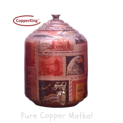 Copperking Pure Copper Printed Matka / Pot 8Ltr, Water Drinking in Copper Vessel