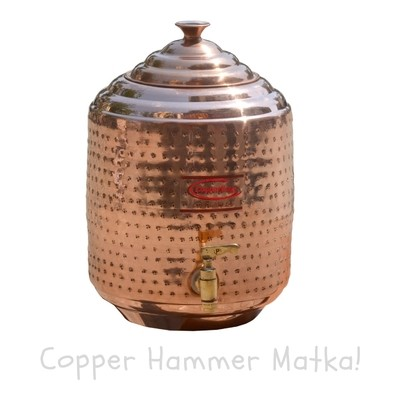Copperking Pure Natural Copper Hammered Matka / Pot 6Ltr, Water Drinking in Copper Vessel