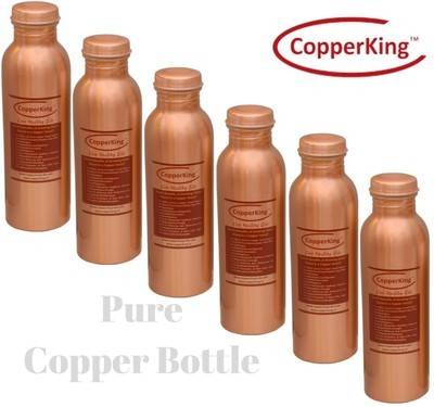 CopperKing Pure Copper Laquer Water Bottle 950ml (Set of 6)