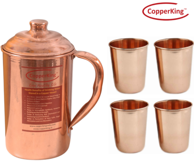 CopperKing Pure Copper Jug (1800ml) With 4 Glasses Water Drinking in Copper Vessel