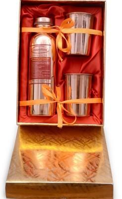 CopperKing Pure Copper Gift Set, 1 Bottle + 2 Glasses (Golden Box)