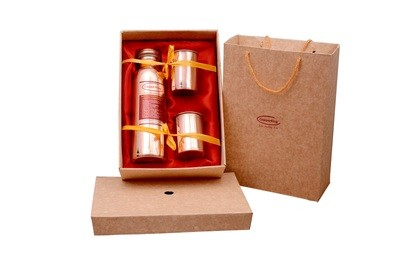 CopperKing Pure Copper Gift Set, 1 Bottle + 2 Glasses