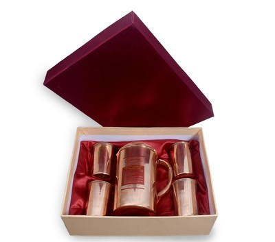 CopperKing Pure Copper Gift Set, 1 Jug (1800ml)+ 4 Glasses