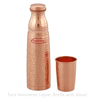 CopperKing Hammered Glass-Bottle Pure Copper Water Bottle 1000ml | Bottle With Glass